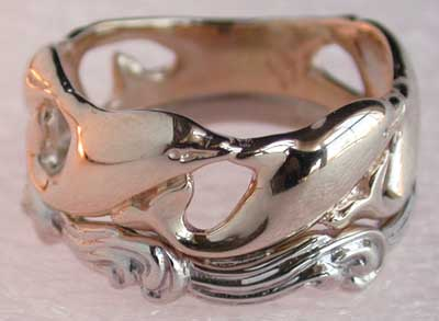 yellow and white gold dolphin ring