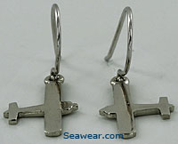 14k white gold airplane single engine or piper earrings