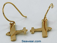 14k gold airplane earrings of piper or single engine