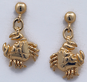 14kt ball drop dangle crab earrings
