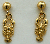 14kt ball drop Maine lobster earrings
