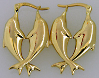 14kt gold puffed entwined swmming dolphin earrings