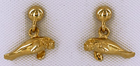 14kt gold drop ball 3D manatee earrings