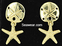 14k polished sand dollar and starfish post earrings