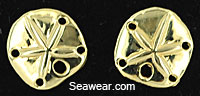 14kt polished post sand dollar earrings