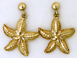 14kt gold ball dropp starfish post earrings