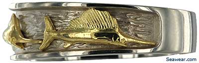 yellow gold sailfish on white gold ring