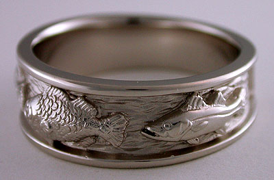 platinum largemouth bass snook ring