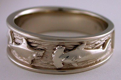14kt white gold make shark hammerhead shark ring