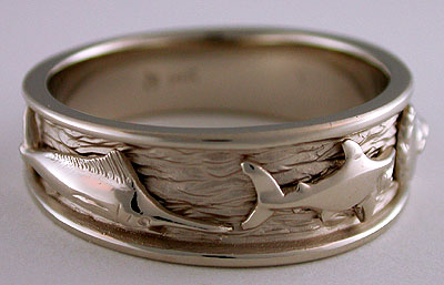 14k white gold marlin mako shark ring
