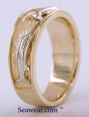 14kt two tone triple fish ring