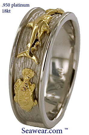 platinum 18kt gold three fish ring