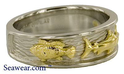 platinum 18kt gold three fish band