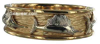 platinum sailfish on 18kt gold triple fish wedding band