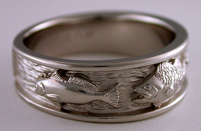 redfish largemouth bass ring in platinum