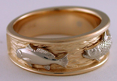 14kt gold redfish tarpon three fish band