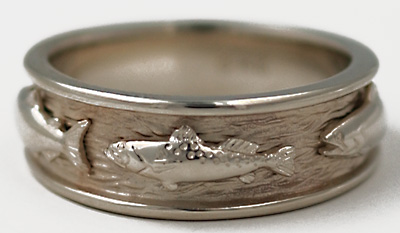 14kt white gold fish ring with salmon and sea trout