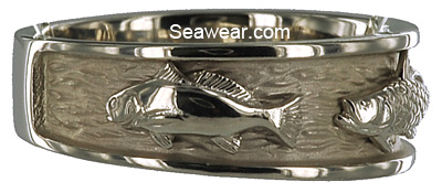 white gold redfish on white gold triple fish ring