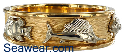 white sailfish triple fish ring