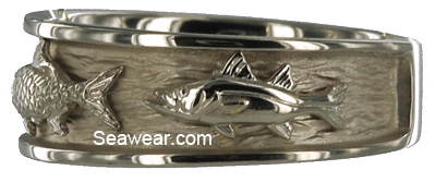 white gold snook on white gold triple fish wedding band