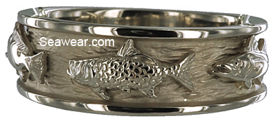 white gold tarpon fish on white gold triple fish wedding band