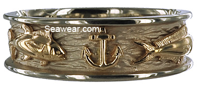 yellow gold anchor on white gold triple fish wedding band