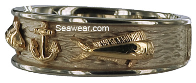 yellow gold bull nose dolphin dorado on white gold triple fish wedding band