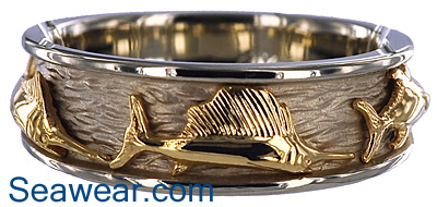 yellow sailfish on white ring