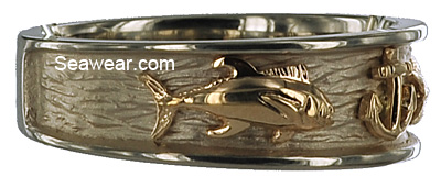 yellow gold tuna on white gold triple fish wedding band