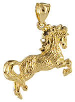 14kt gold Bashir Curly horse pendant