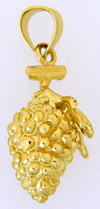 14kt bunch of grapes haning from the vine charm or pendant