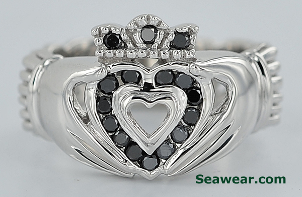 white gold Celtic Claddagh ring with black diamonds
