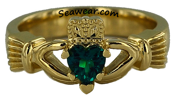 Claddagh hearts ring with heart shaped prongs