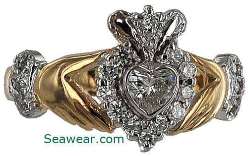 14kt diamond Claddagh engagement ring from Dublin Ireland