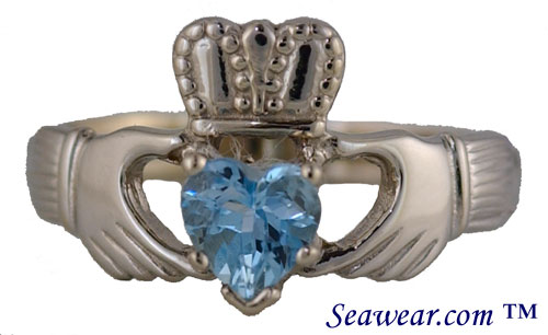 14kt white gold Claddagh ring with aquarmarine heart shaped stone