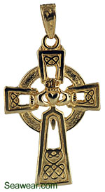 14kt gold Claddagh cross made in Irealnd