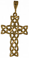 14kt diamond cut knoted woven Celtic knot cross