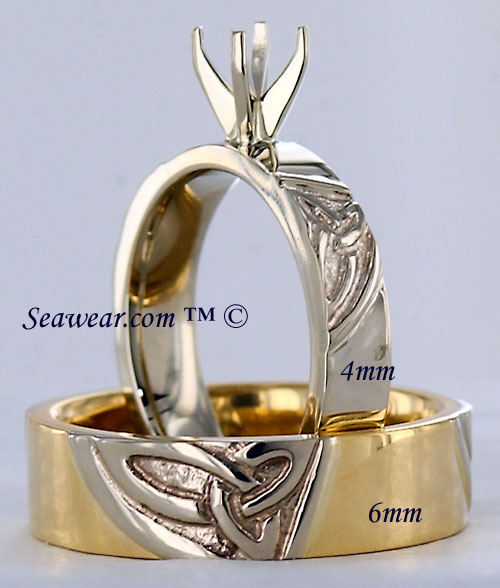 triple trinity knot engagement ring and wedding band