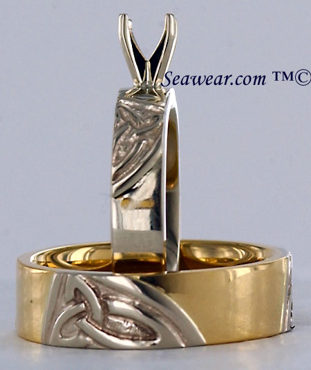 14kt triple trinity knot wedding set
