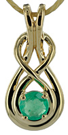 14kt Celtic love knot pendant with 1/3ct emerald