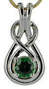 14kt white gold Celtic love knot pendant with 1/2ct gem quality Tsavorite