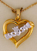 14kt heart and Claddagh necklace set from Ireland