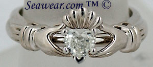 VS heart shapped diamond Claddagh engagement ring