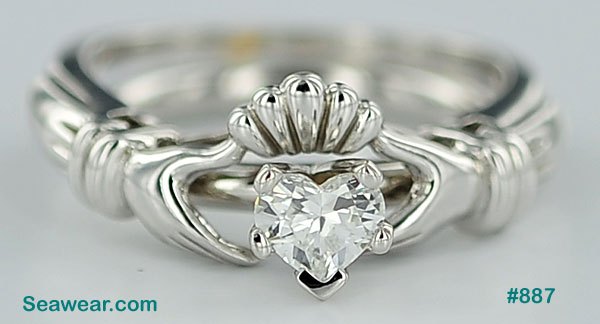 14kt white gold SI/D Claddagh heart diamond engagement ring