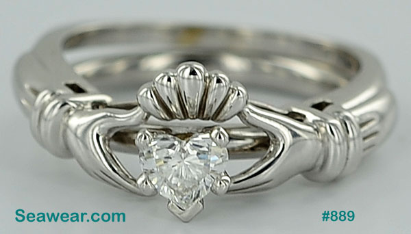 white gold Claddagh diamond engagement ring and Claddagh enhancer wedding band