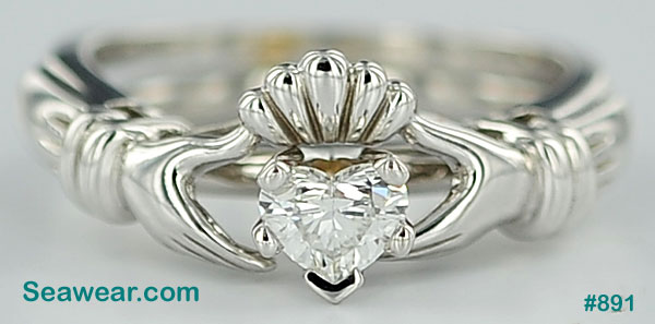 Claddagh heart diamond engagement ring