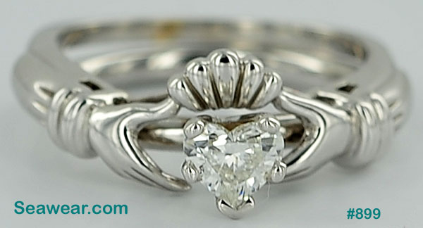 white gold Claddagh engagement ring and enhancer wedding band