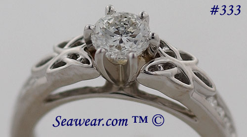 Celtic engagement ring with nearly 3/4ct SI diamond