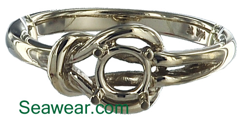 white gold Celtic love knot sailor square knot ring