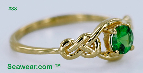 side view Celtic love knot engagement ring